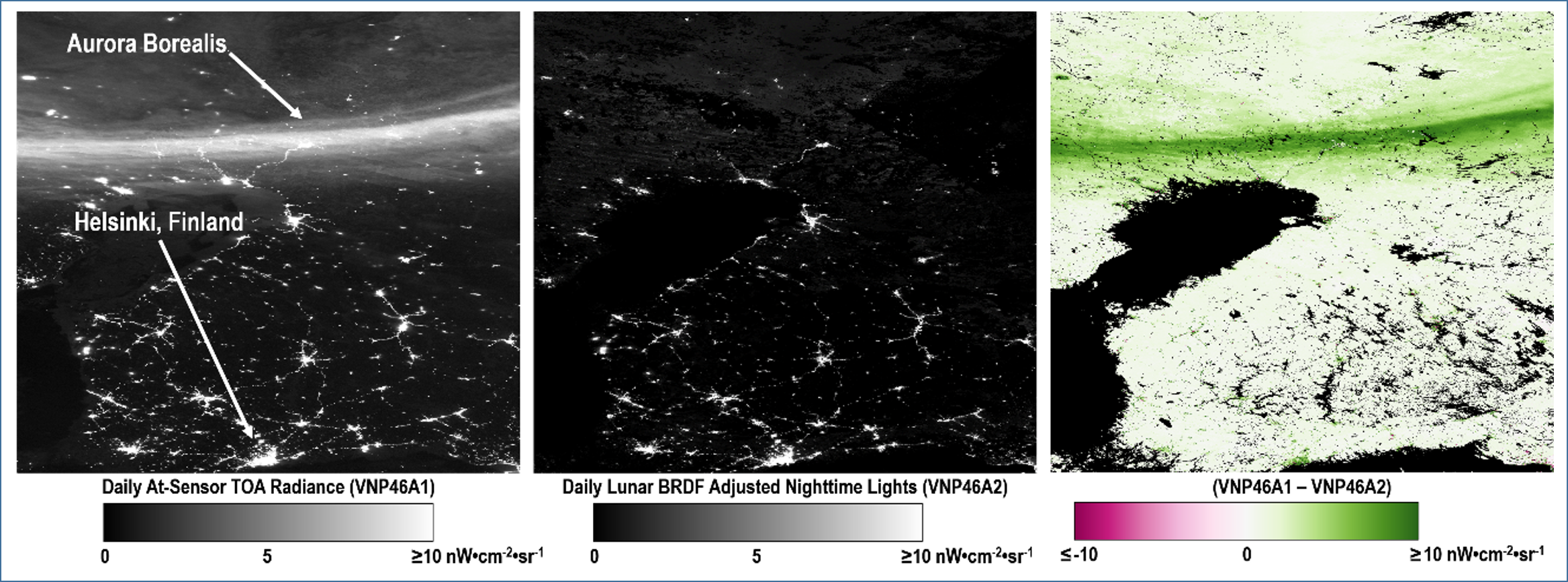 VNP46 product suite components for a 10° x 10° Level 3 tile over Sweden and Finland (h20v02; DOY 2013-080). The half-moon-illuminated and 30% cloud-contaminated scene is shown to capture extraneous light emissions north of the Gulf of Bothnia caused by the Aurora Borealis.